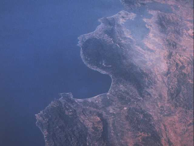 The Central California Coast from 250 miles in space