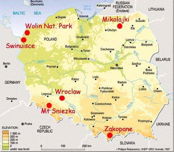 Southern Poland Map.Travel Information